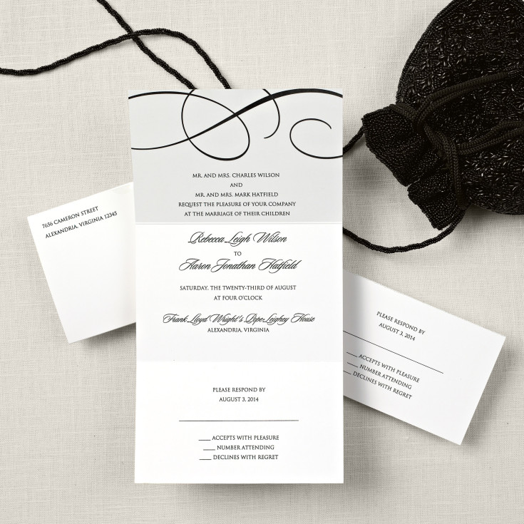 elegant scroll seal and send wedding invitation, Wedding invitations