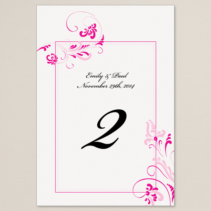 Table Number Cards Extraordinary Love In Bright Pink Design For The Reception