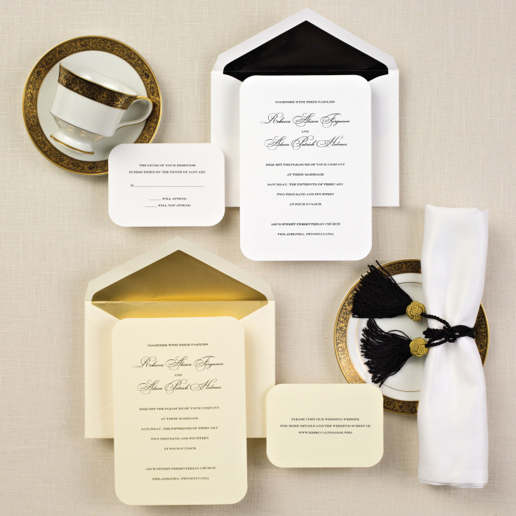 Simple elegance wedding invitation classic wedding for Simple wedding invitations with pictures