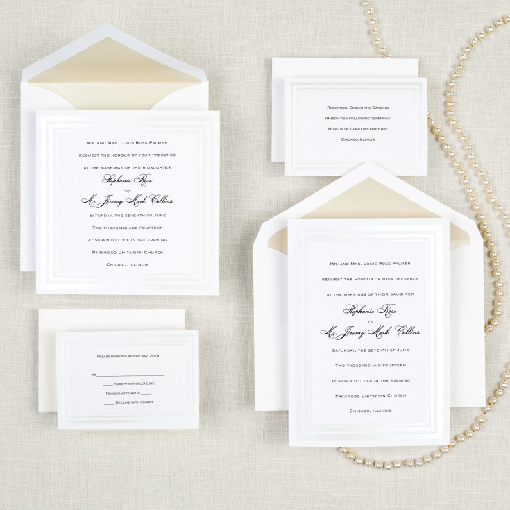 pearl pleasure square wedding invitation - square pearl border, Wedding invitations