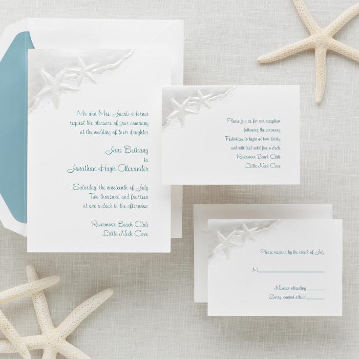 starfish wedding invitation - beach wedding invitations, Wedding invitations