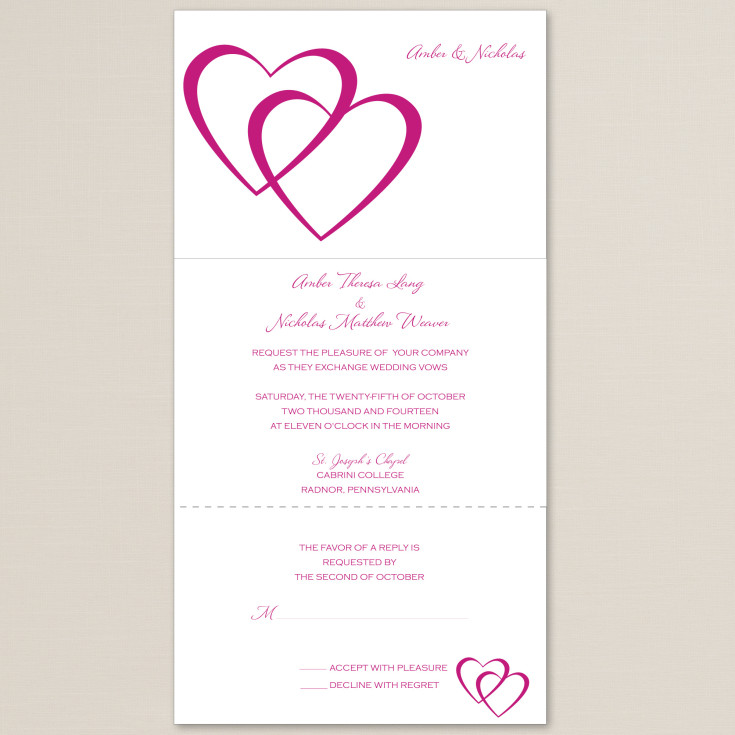 Entwined Hearts Seal And Send Wedding Invitation