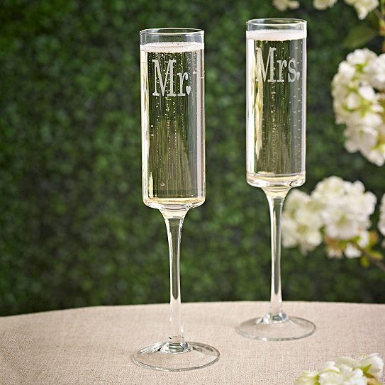 weddings mr and mrs contemporary toasting flutes set of 2