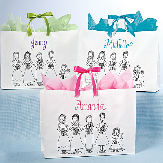 Wedding Gift Bags Bridesmaids : Personalized Bridesmaids Tote with Custom Calligraphy