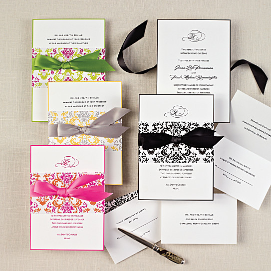 delightfully damask wedding invitation all in one wedding invitations - Damask Wedding Invitations