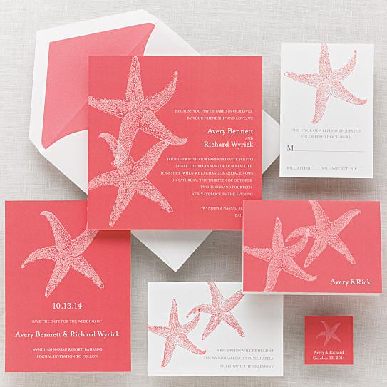 imperial starfish wedding invitation - beach wedding invitations,