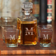 Personalized 5-Piece Whiskey Decanter Set with Free Name-Initial Monogram