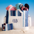 Blue and White Striped Beach Bag