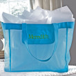 Personalized Turquoise Mesh Tote for Wedding Day Essentials