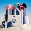 Blue Striped Beach Tote with Anchor Motif