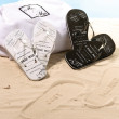 Just Married Flip Flops for Bride and Groom in Black and White