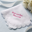Scalloped Lace Wedding Handkerchief with Free Custom Embroidery