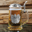 German Glass Stein with Lid and Crest