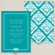 Bold Damask Wedding Invitation