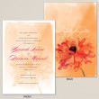 Orange Watercolor Poppy Wedding Invitation