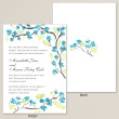 Teal Blossoms Wedding Invitation