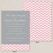 Gray and Pink Chevron Wedding Invitation