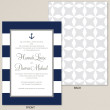 Nautical Stripes with Anchor Wedding Invitation