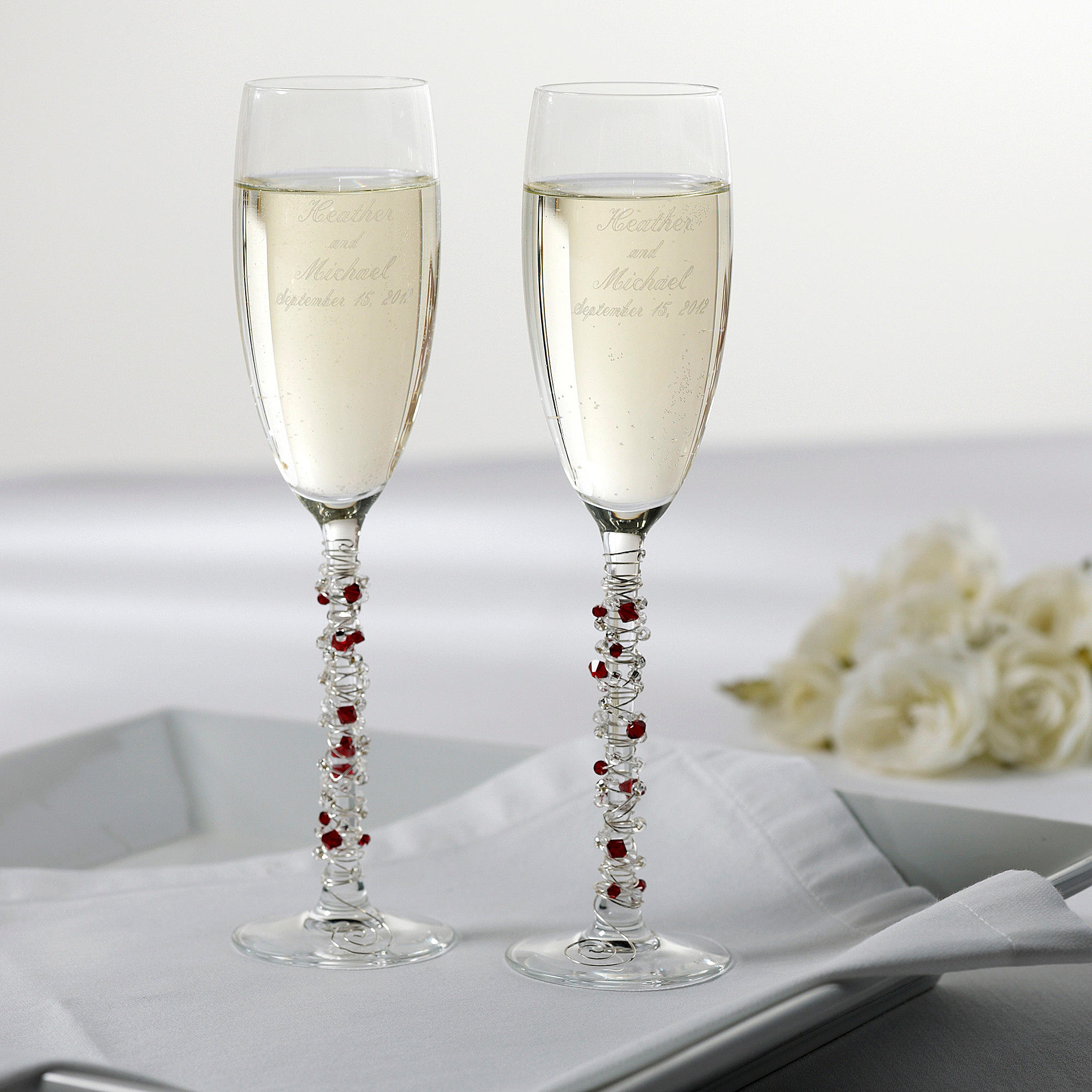 Austrian Crystal Wedding Toasting Flutes