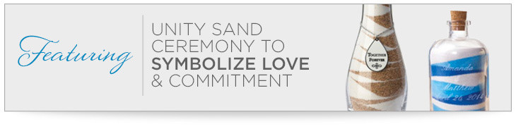 Featuring unity sand ceremony to symbolize love and commitment.