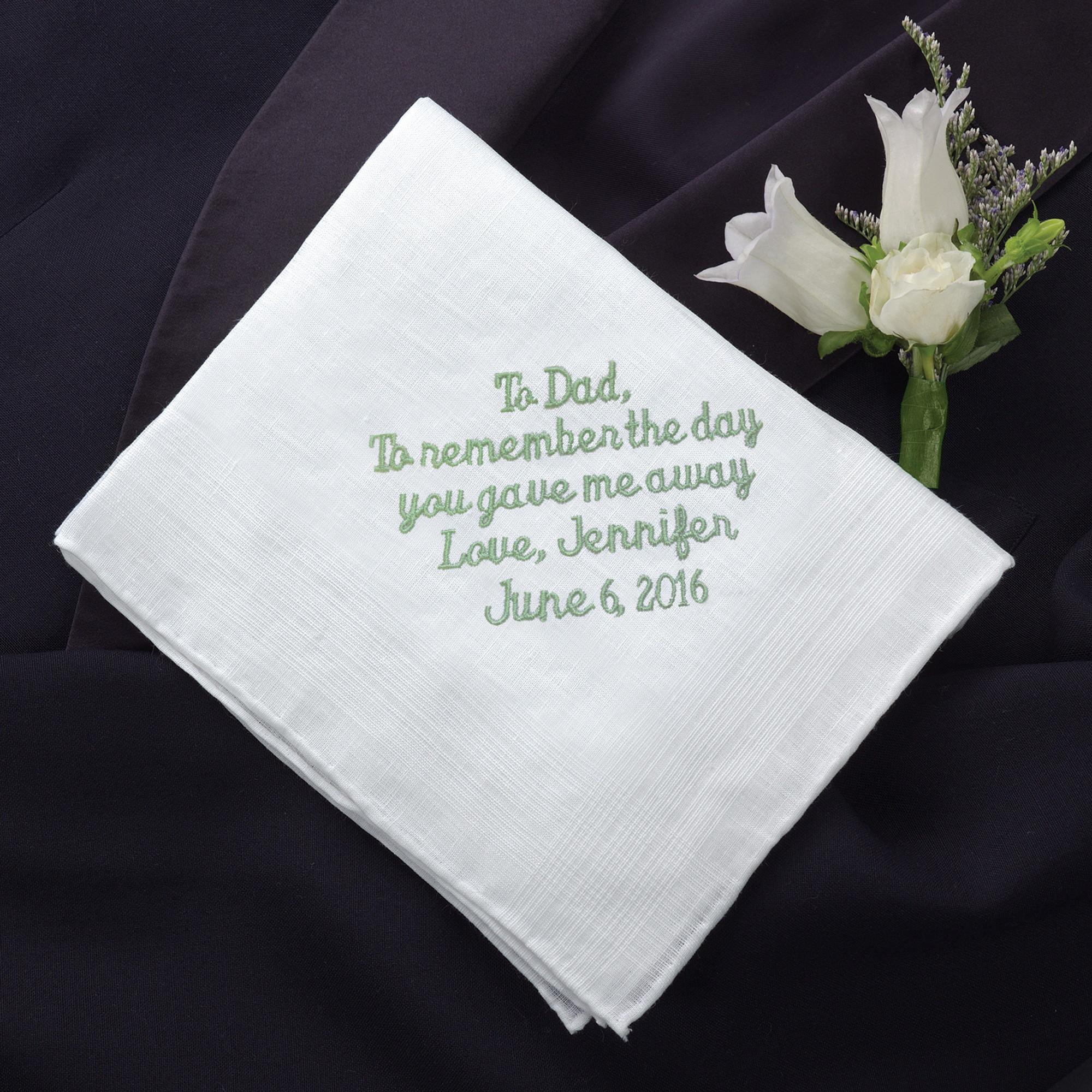 Wedding Wedding Handkerchief father of the bride linen handkerchief