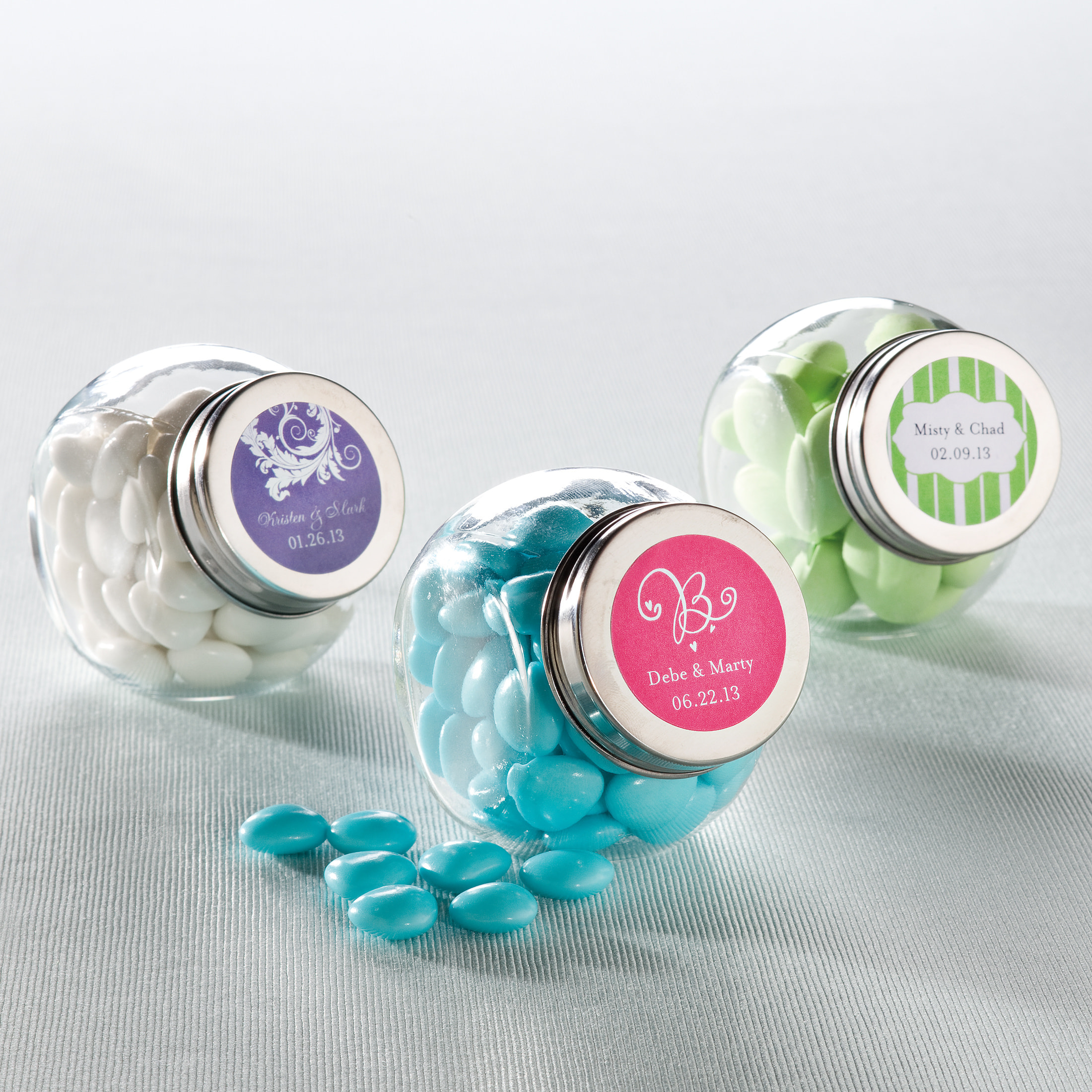 candy jar favor with personalized label wedding favors