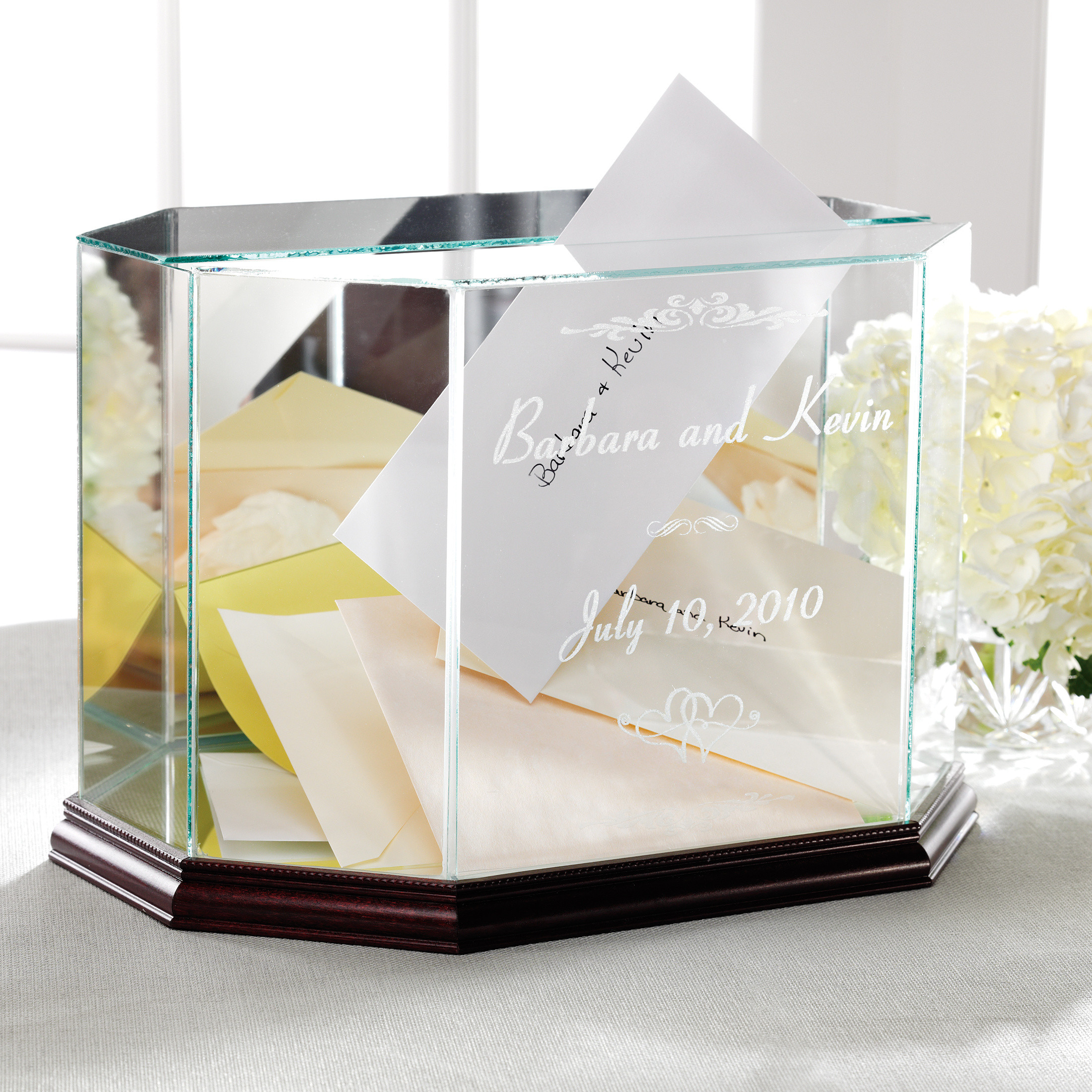 Personalized Glass Wedding Box Keepsake for Money Envelopes