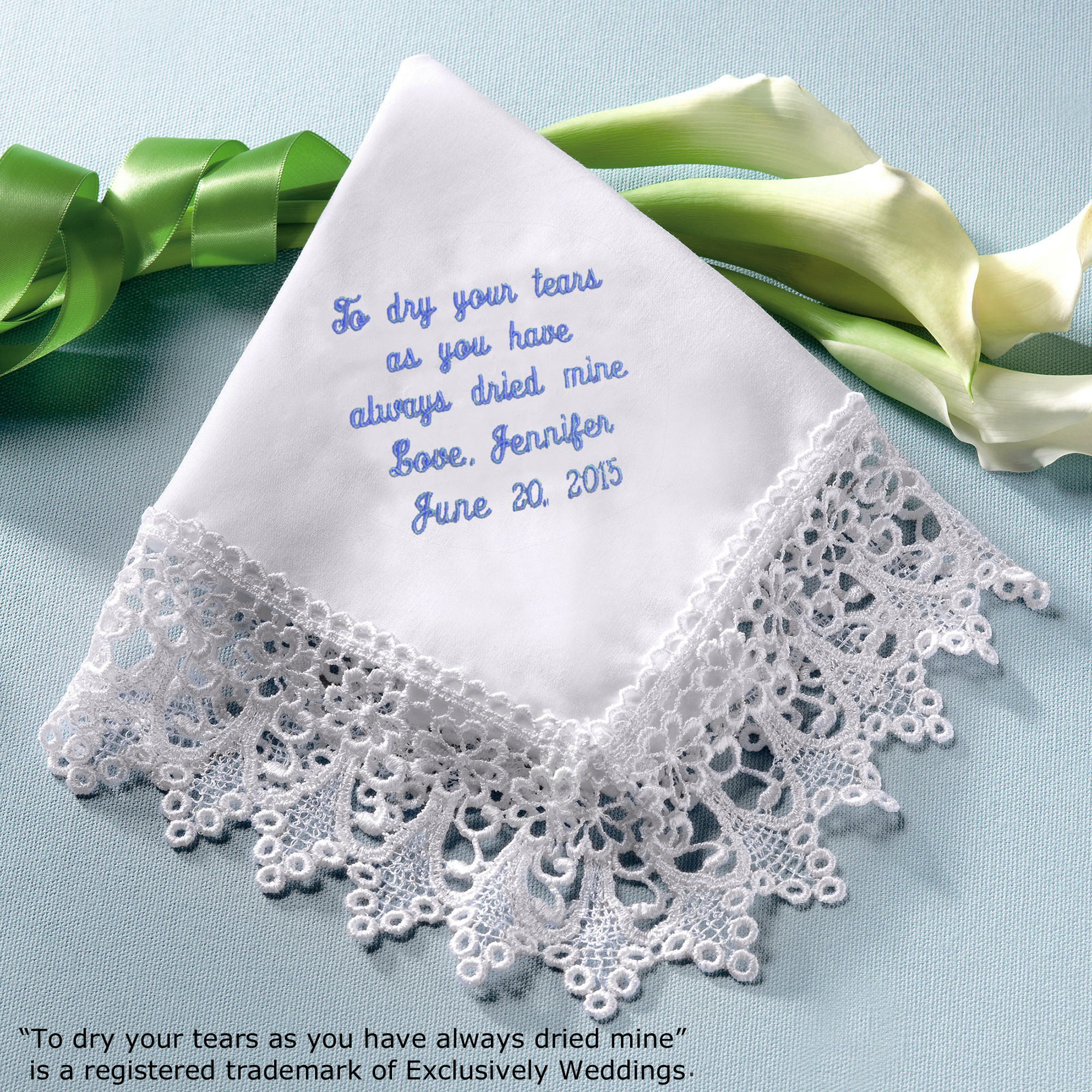 Wedding Wedding Handkerchief venise lace mothers hanky in white