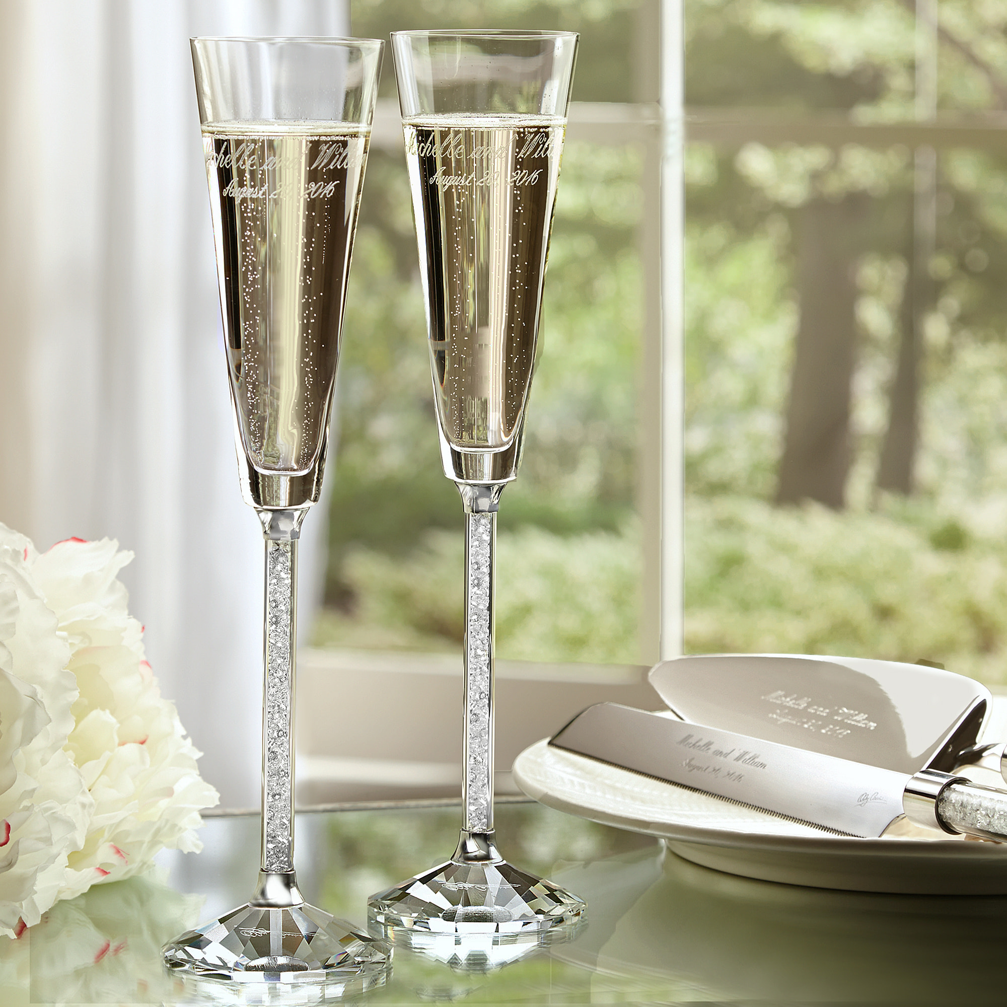 Wedding Wedding Toasting Flutes exclusively weddings oleg cassini crystal diamond toasting flutes