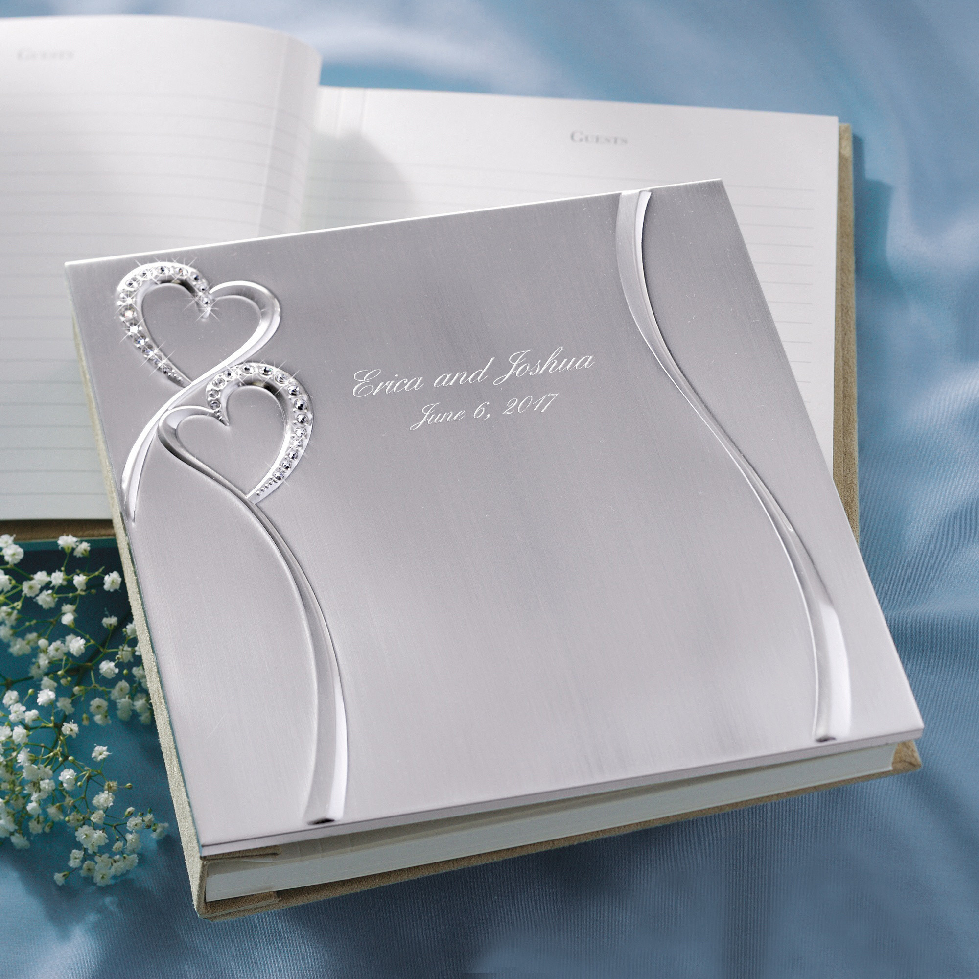 Wedding Guest Books twin hearts guest book wedding reception accessories