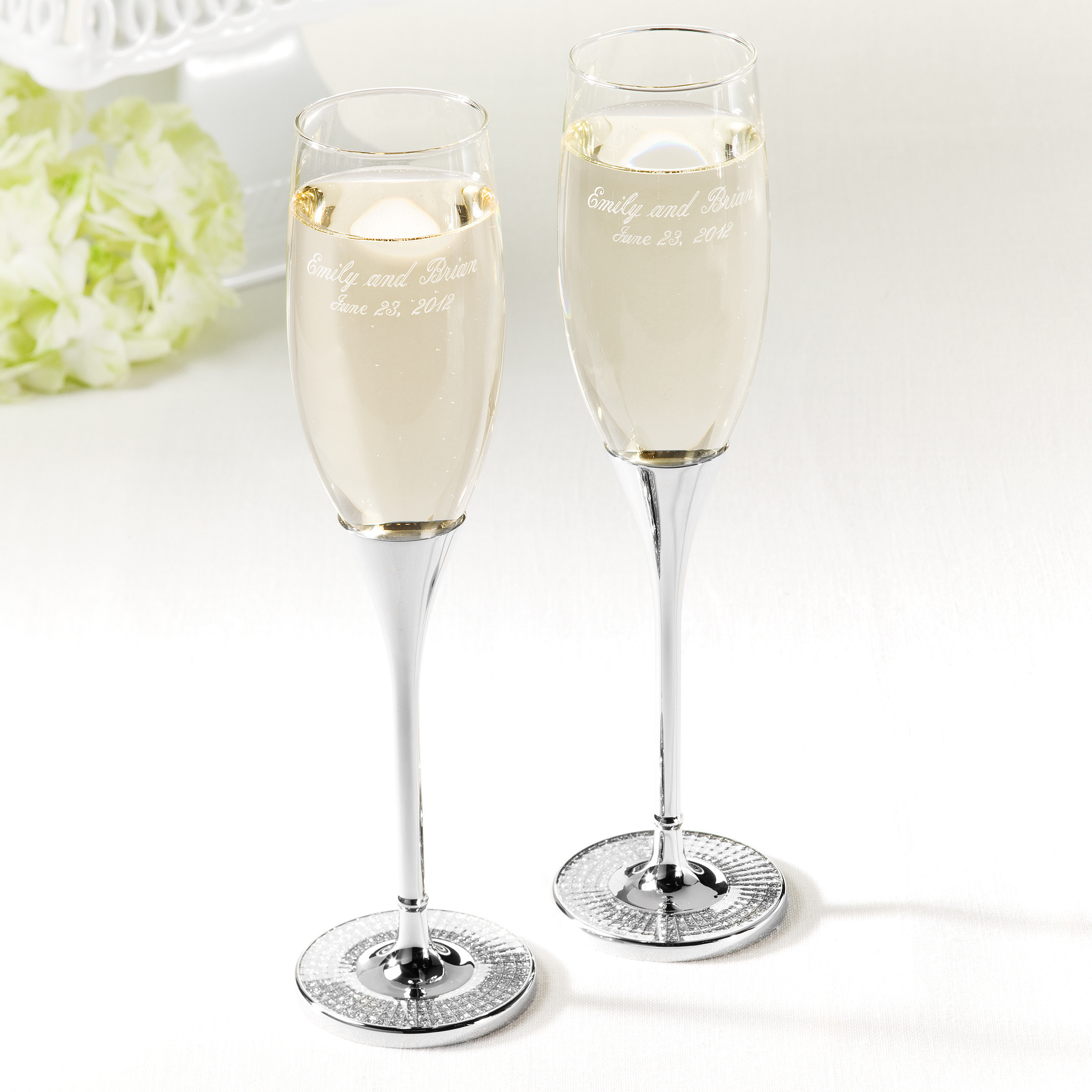 Wedding Gles Toasting Glitter Galore Flutes Champagne