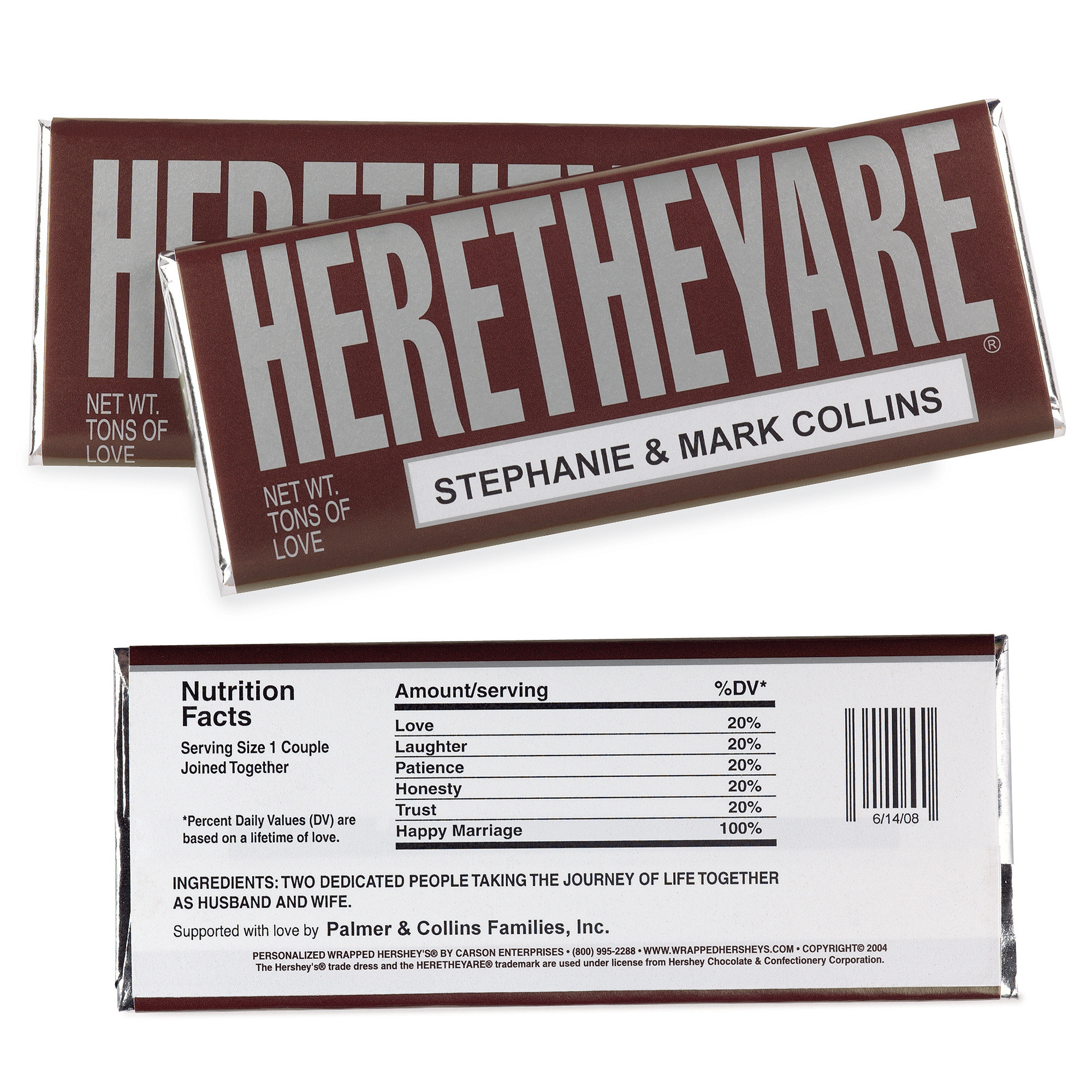 HERETHEYARE Large Hersheys Chocolate Bar Wrappers | Wedding Favors