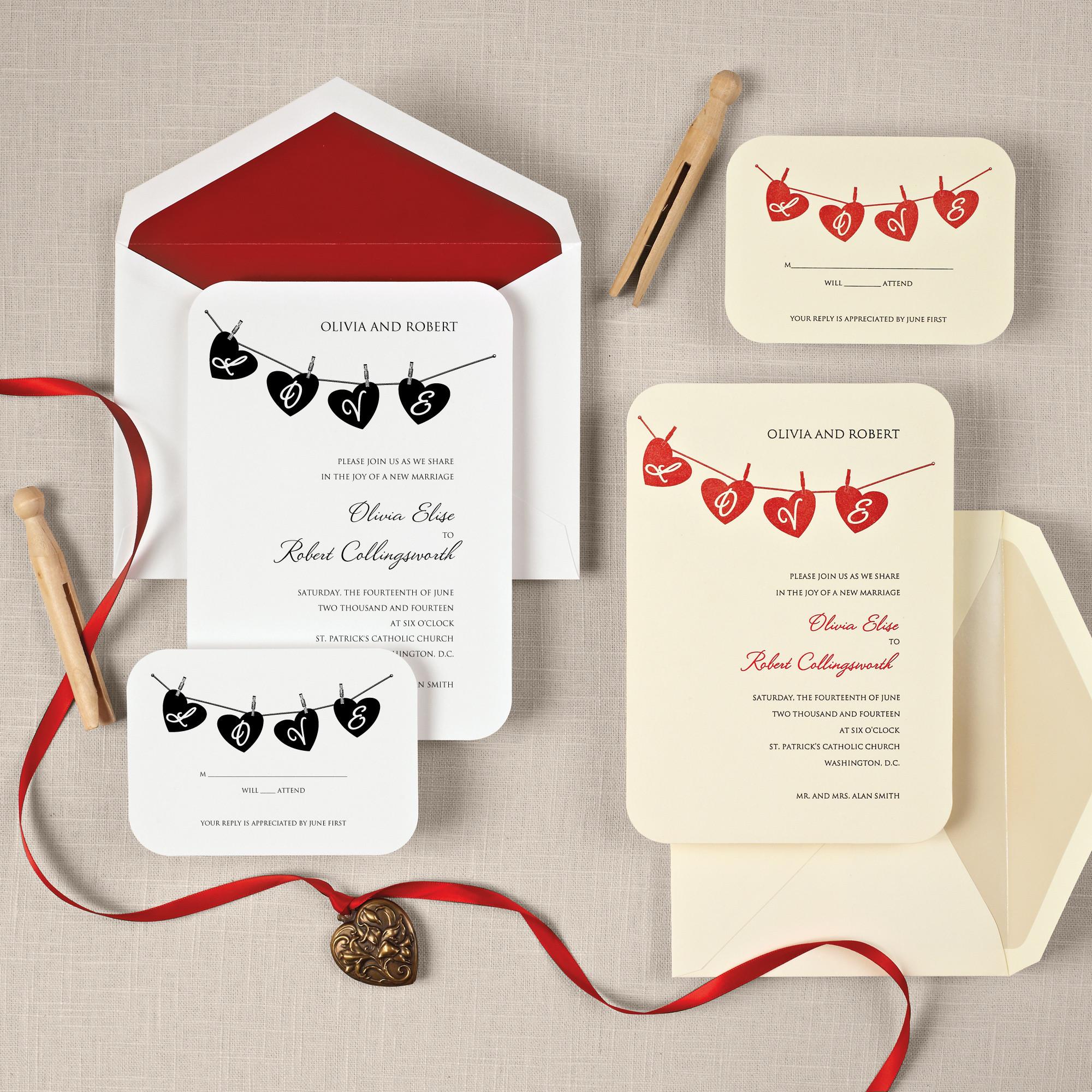 hung up on love wedding invitation heart wedding invitations - Cute Wedding Invitations