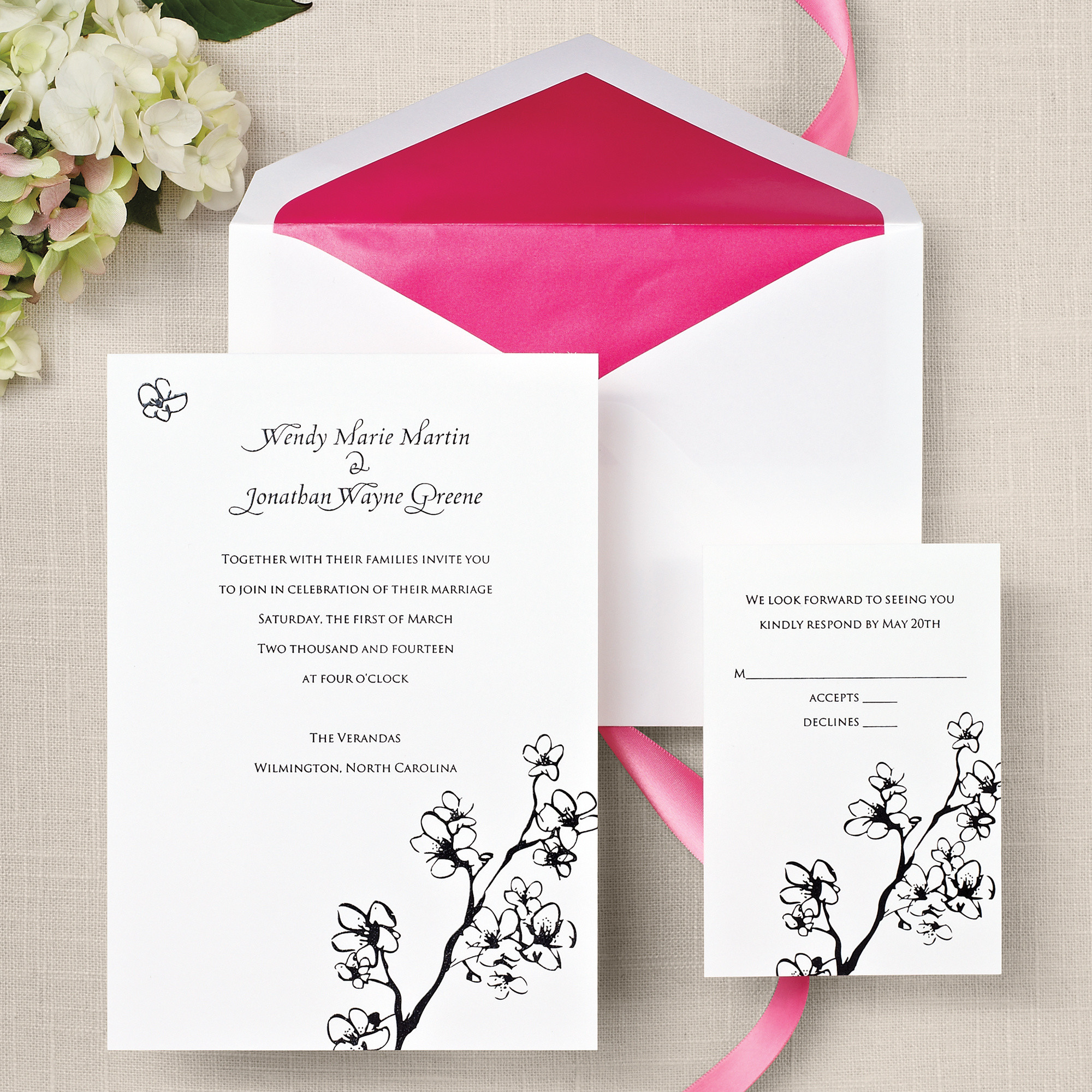 cherry blossoms wedding invitation in bright white, Wedding invitations