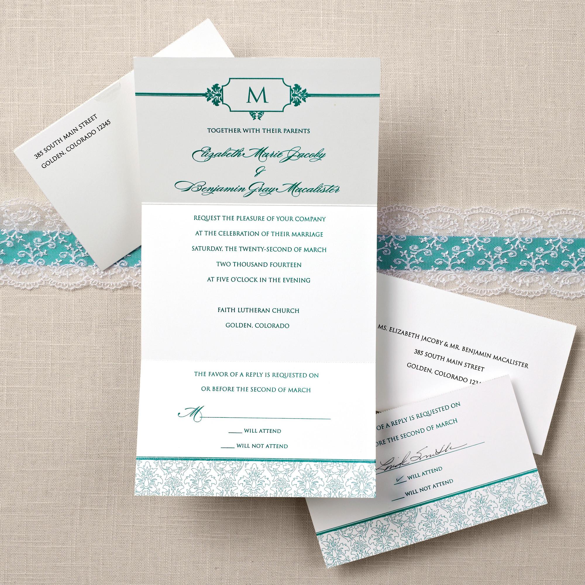 damask seal and send wedding invitation  wedding invitation, Wedding invitations