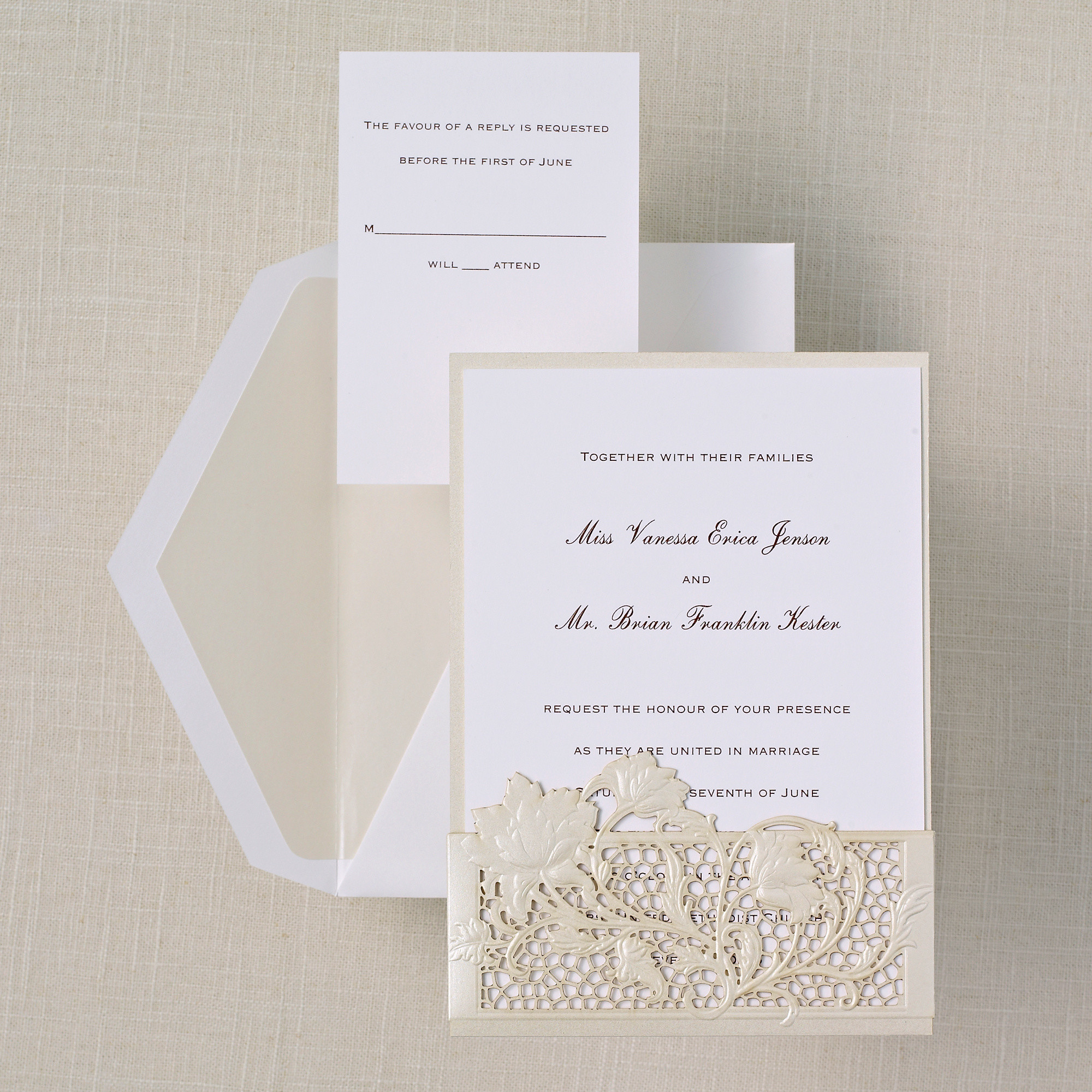 lace couture - Vintage Style Wedding Invitations