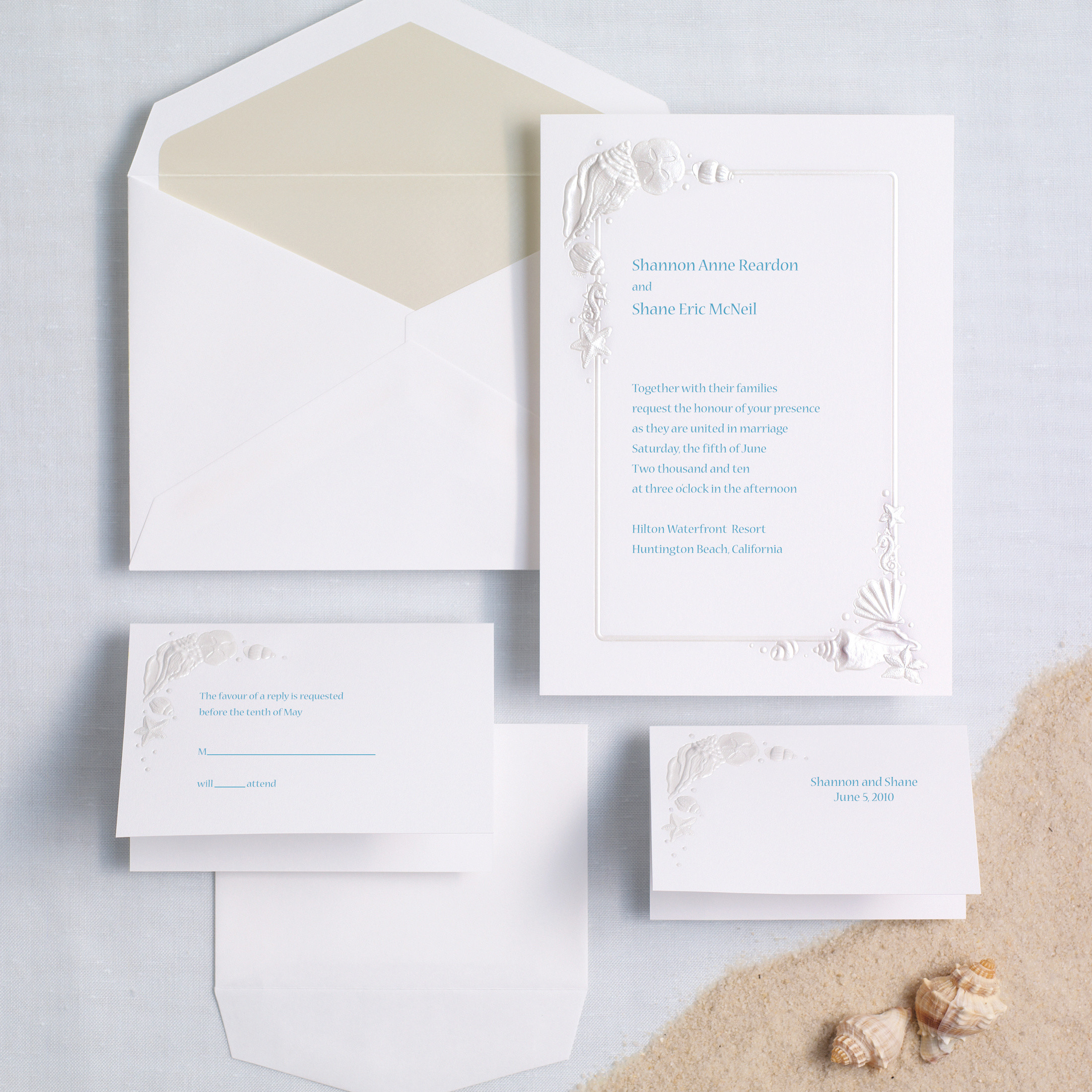 Sea Treasures Wedding Invitation Beach Wedding Invitations