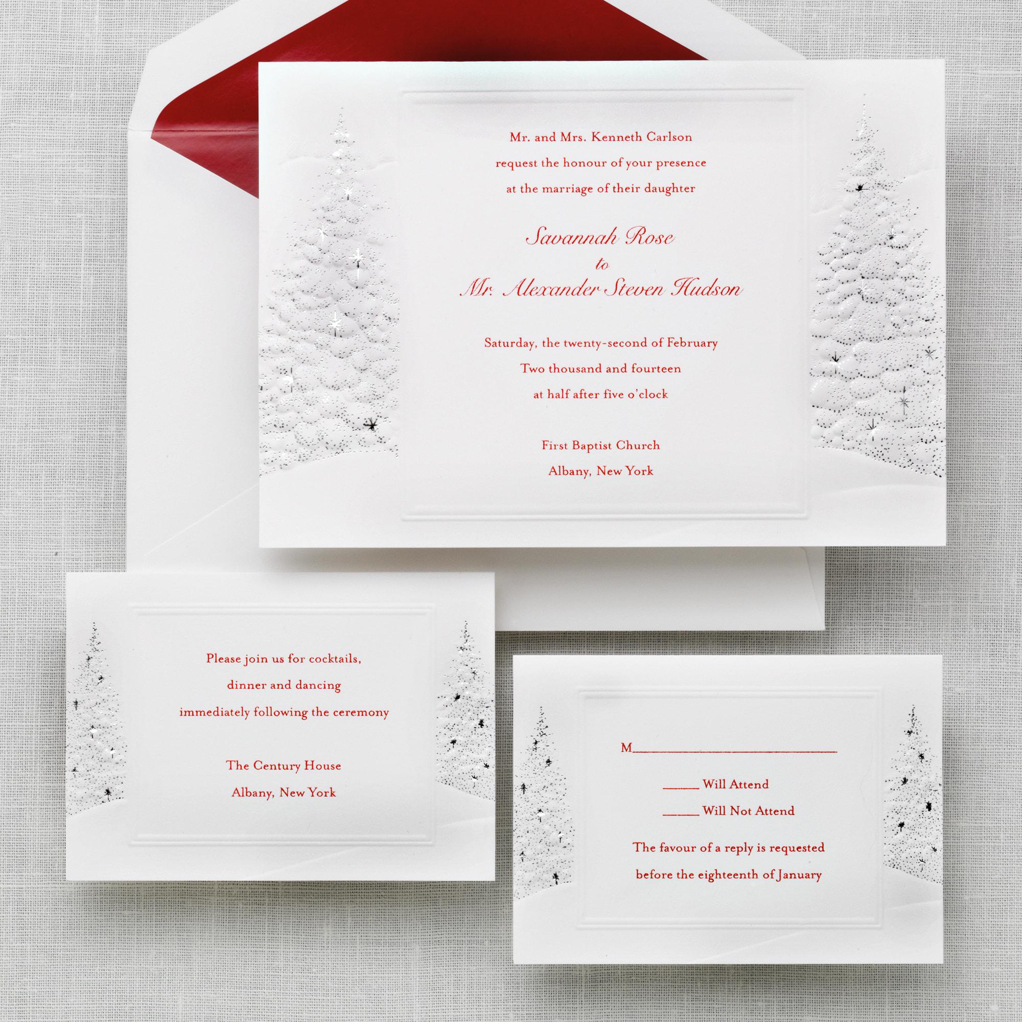 Winter Romance christmas wedding invitations
