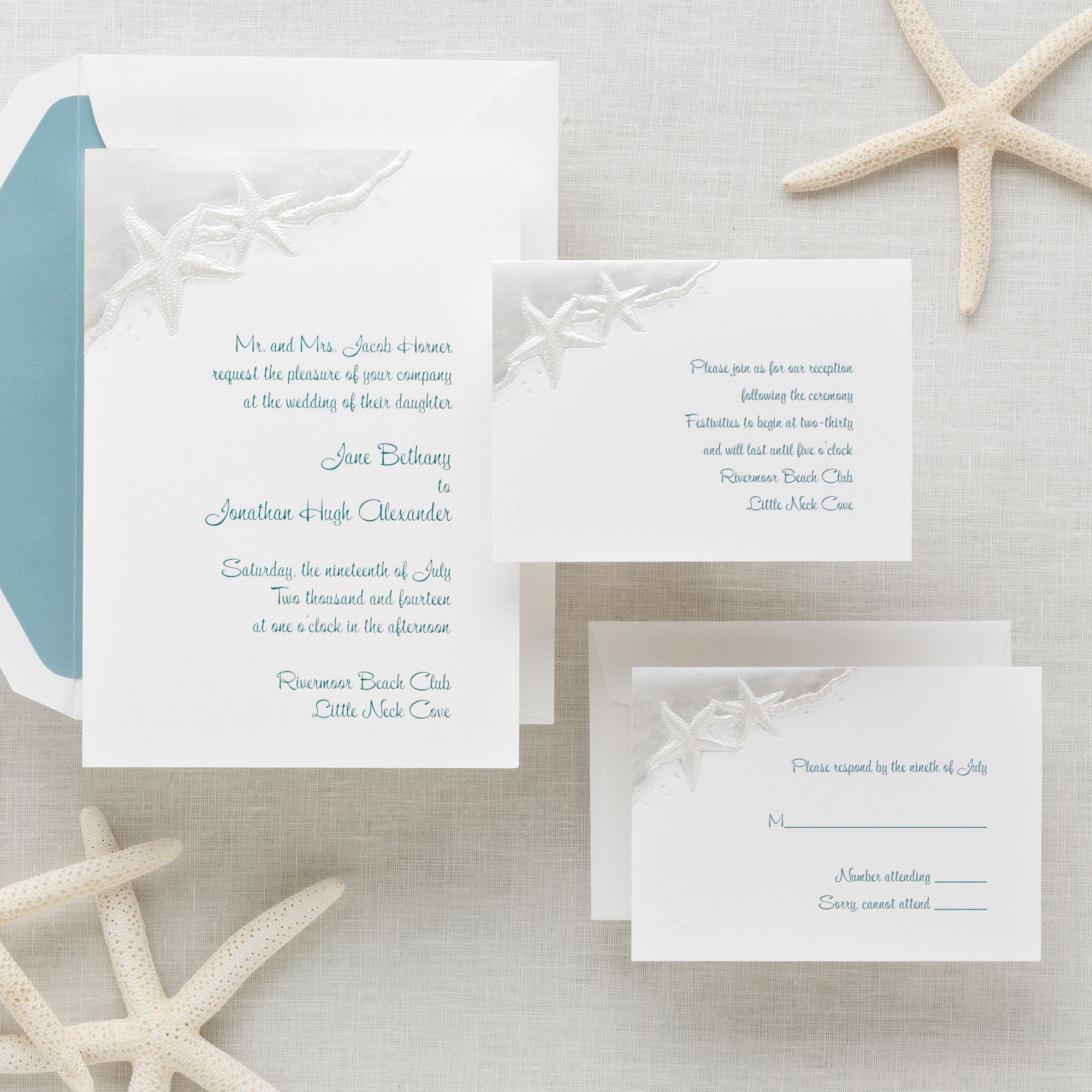 Starfish Wedding Invitation Beach Wedding Invitations