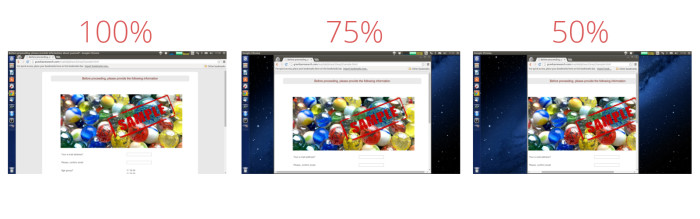 Internet Browsers Open at 100%, 75% and 50% Width of Desktop on the Most Popular 1366x768 Screen