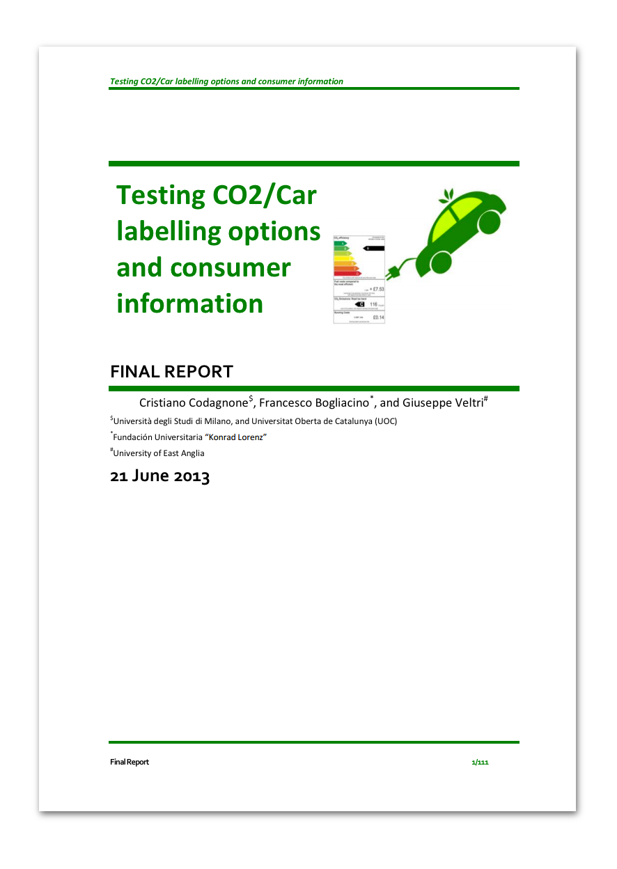 Testing CO2 / Car labelling options and consumer information | Expilab