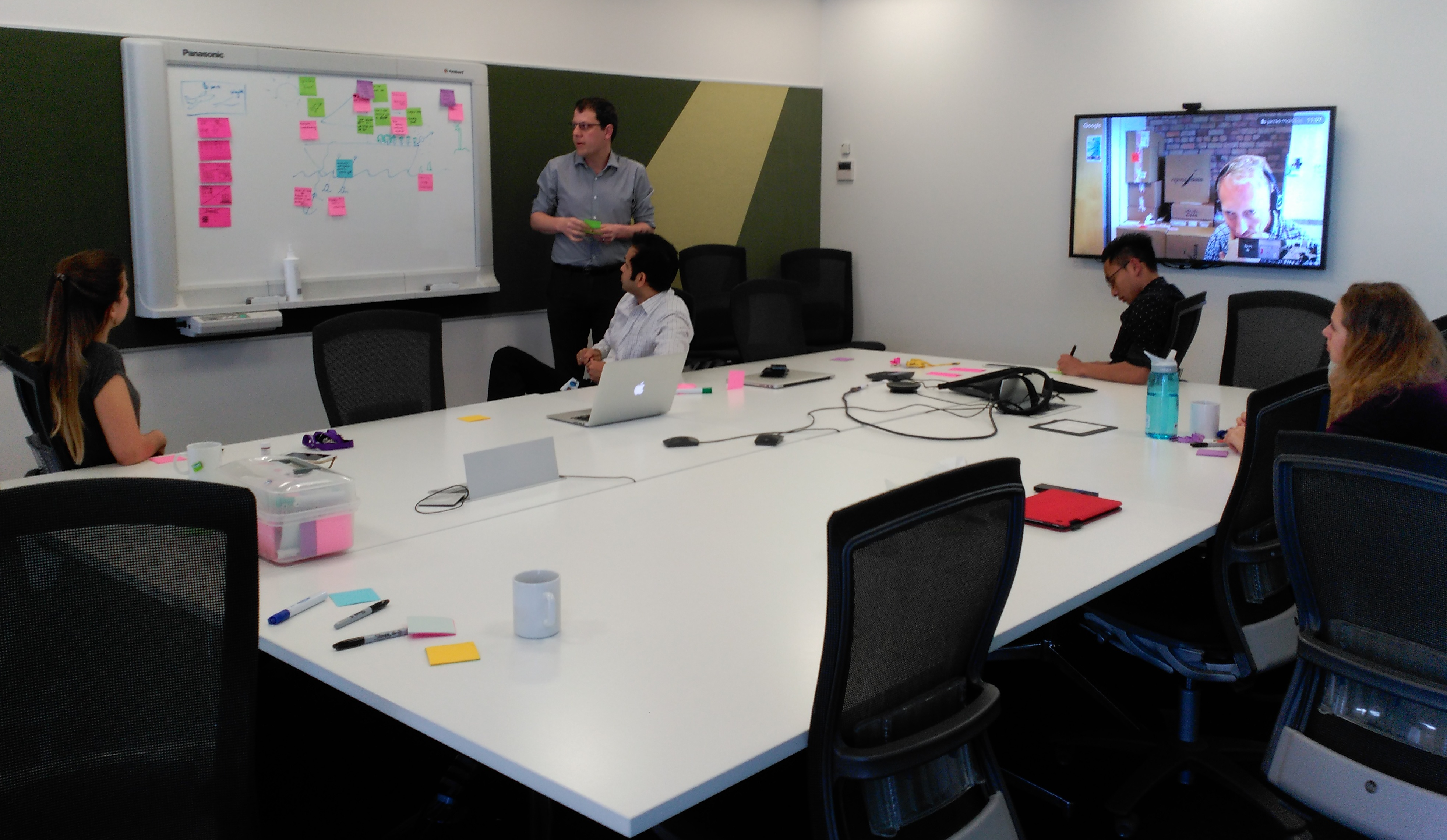 The Stuff Testers retro-ing. (L-R) Daphne, Jamie (standing), Rupesh, Ardian, Bjorn (via Hangout) and Yuliya