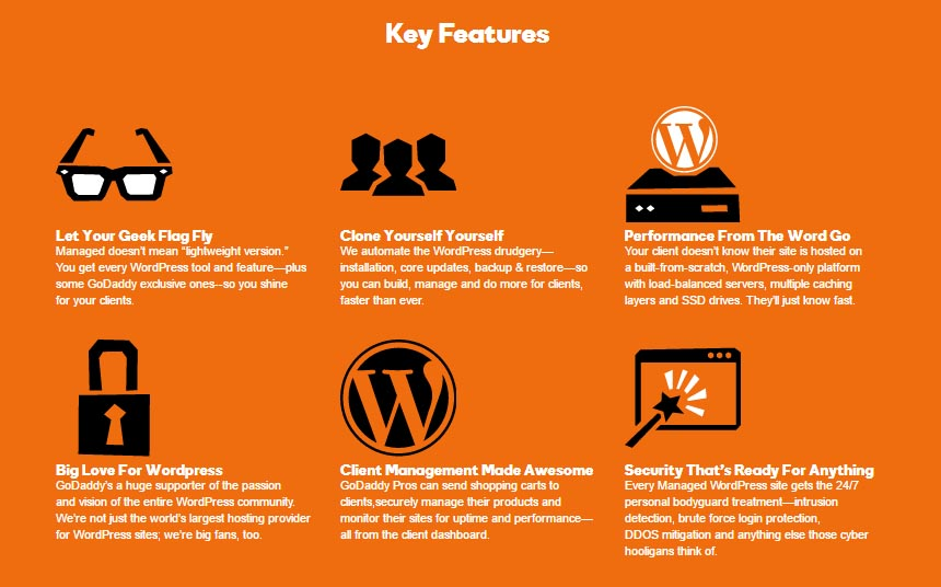 Godaddy managed WordPress Hosting key features
