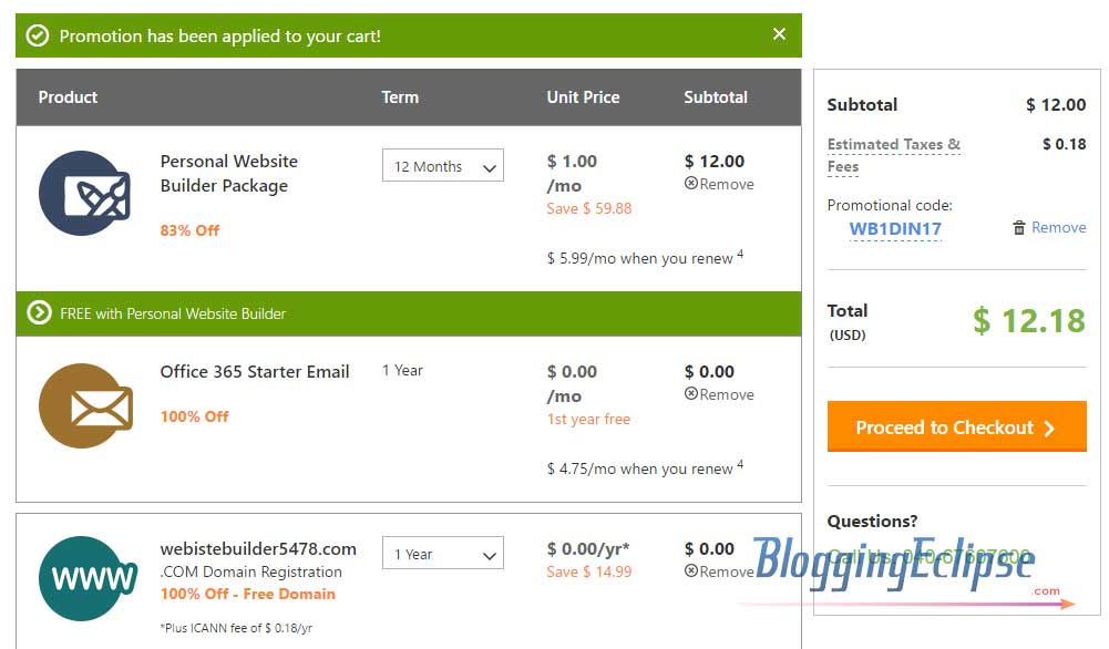 Godaddy Website builder checkout [age