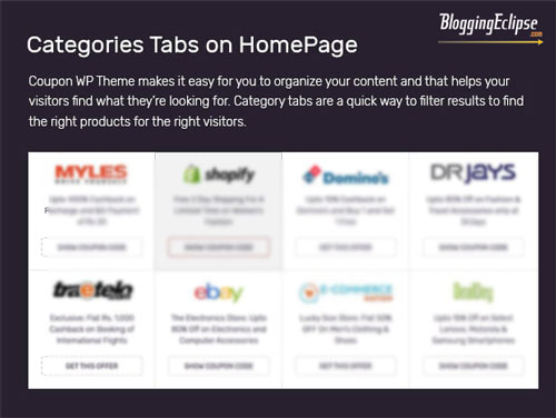 Categories tab on home page