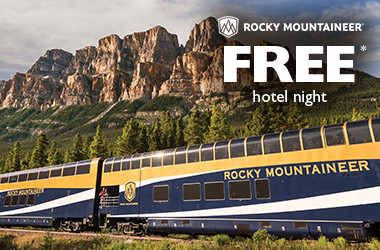 Receive FREE* hotel nights with Rocky Mountaineer!