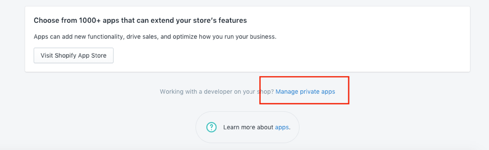Shopify manage apps