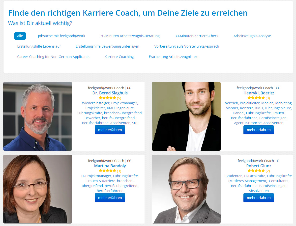 Screenshot Coaching Marktplatz