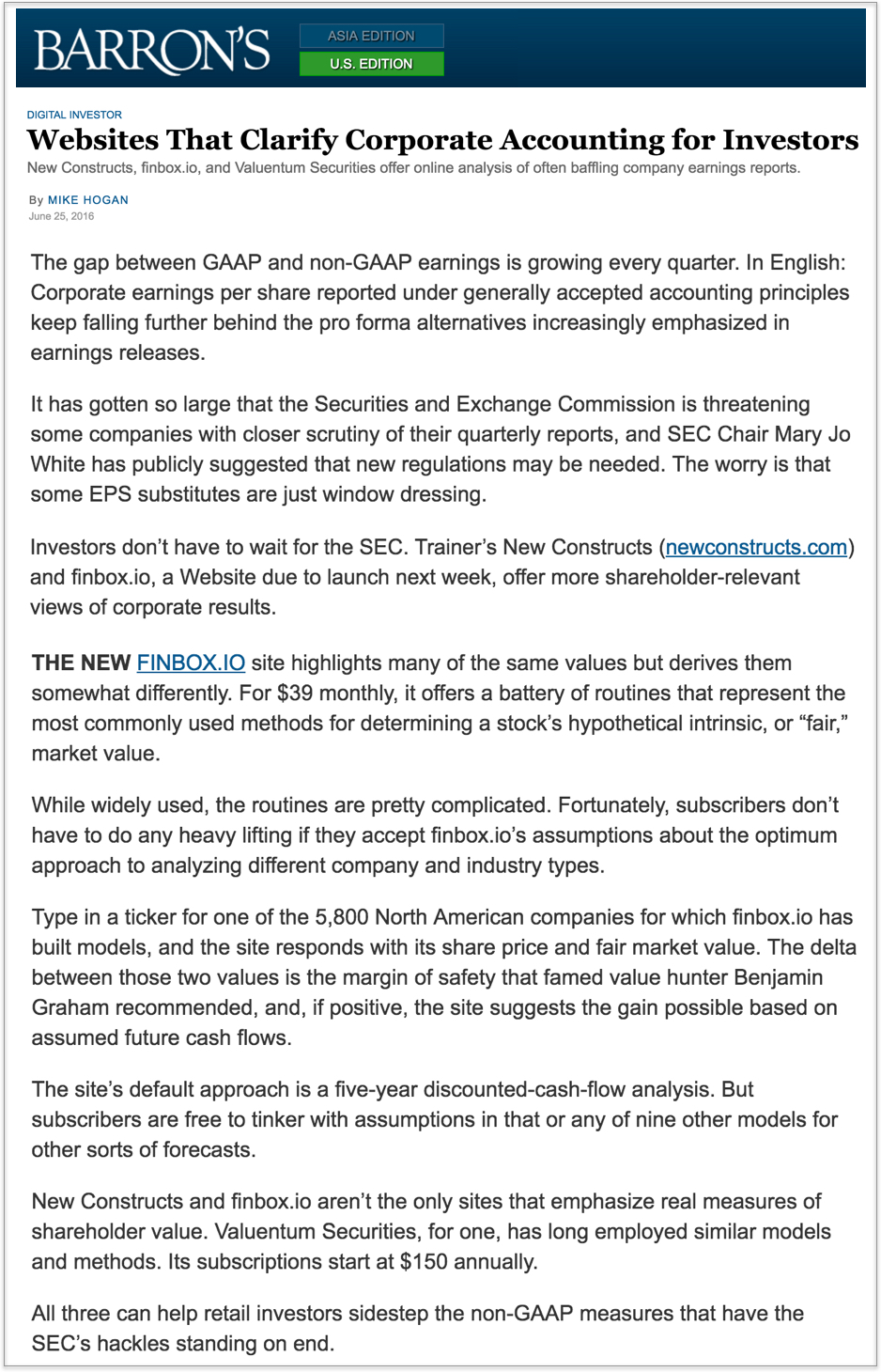 Barrons article on finbox.io 6.25.16