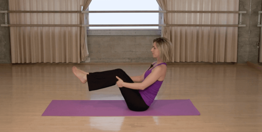 knee-friendly workout boat pose